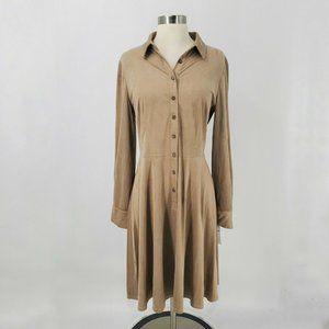 London Times NWT Faux Suede Tan Shirt Dress sz 10